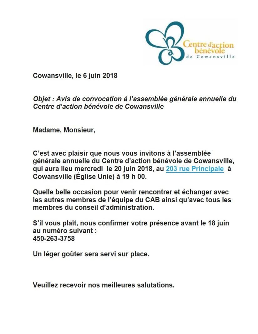 invitation assemblée annuelle