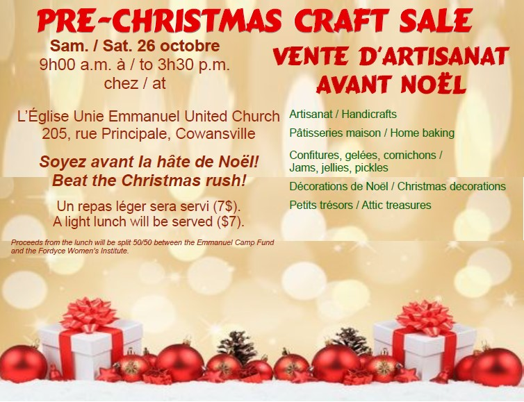 Pre-Christmas craft sale